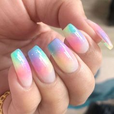 Coffin Nails With Pastel Rainbow ❤️ We have covered the best Easter nails art in this article for your inspiration! ❤️Easter Coffin Nails With Pastel Rainbow ❤️ We have covered the best Easter nails art in this article for your inspiration! Easter Nail Designs, Easter Nail Art, Nail Designs Spring, Easter Color Nails, Pretty Nails, Fun Nails, Colorful Nail Art, Colorful Nail Designs, Rainbow Nail Art Designs