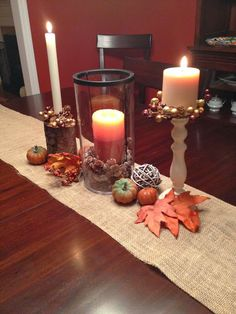 Fall table decorations on a burlap runner - Great tips for decorating for the season by shopping your house, before the store! #fall #falldecorations #falltablescape #DIY