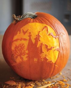 Chris Soria and Marc Evan of Maniac Pumpkins use pumpkins as blank canvases for intricate portraits, fantastical monsters, and tongue-in-cheek replicas of famous art. Chris and Marc suggest using linoleum cutters for etching, as in the haunted hosue pumpkin here.