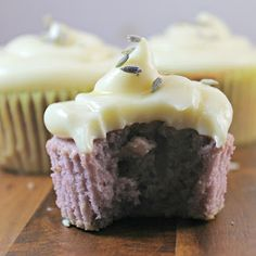 Almond Lavender Cupcakes with Honey Cream Cheese Frosting |