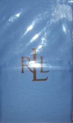 2 Ralph Lauren Dunham 300 Thread Count Sateen Standard Pillow Cases Blue NIP $26.99