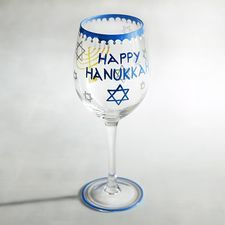 Along with latkes and applesauce, this blue and gold design is a must-have for this year's holiday gatherings. Hand-painted glass features a striking menorah and Star of David that make your table decor—and the occasion—even more special. Hanukkah Menorah, Happy Hanukkah, Hannukah, Unique Wine Glasses, Painted Wine Glasses, Hanukkah Decorations, Wine Craft, Cute Christmas Gifts, Festival Lights