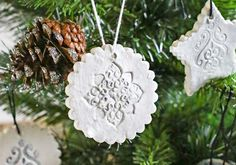 Stamped Clay Ornaments w/ Homemade Clay Recipe via @KleinworthCo