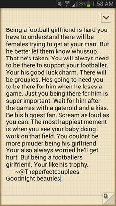 Posting because the grammar is hilariously bad. But it's too sweet! And because for a super long paragraph, there's no structure at all. Football Relationship, Cute Relationship Goals, Cute Relationships, Relationship Quotes, Football Player Girlfriend, Football Boyfriend, Love Quotes For Him, Cute Quotes, Football Quotes