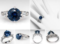 Blue Sapphire Engagement Ring 5.7 Carat Center Eye Clean by EraGem $24,000 a girl can dream, it is stunning!