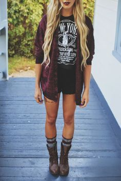 bleach blonde with the tan plus we rockin high boots with the flannel flapping in the wind. yassss, we grunge fashion fanista's