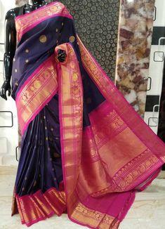 Latest Silk Sarees, Soft Silk Sarees, Gadwal Sarees Silk, Silk Sarees Online Shopping, Saree Collection, Pink Color, Louis Vuitton Monogram, Navy Blue, Sari