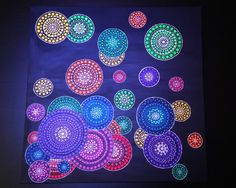 Dot Painting  Original brush made art. Acrylic on canvas. Size: 50x50x2cm (20x20x0.7). No framing required. Canvas stretched on blind frame. Stretcher frame, edges wrapped around the back, painted current color. Signed by Anna Kep on the back. Medium:Acrylic Domination colors: Blue, green, red, orange, yellow.     SHIPPING: Packages are mailed within 1-2 days after receiving the payment. Thank you for your interest in my shop. Molacek.