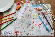 Proposez une activité de coloriage en plaçant de jolis sets de table à colorier par les enfants sur leur table.  Plus d'infos sur le blog