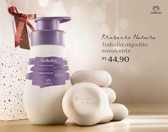 Presente Natura Tododia Algodão Envolvente - Desodorante Hidratante + Sabonetes em Barra + Embalagem. Por R$ 44,90.