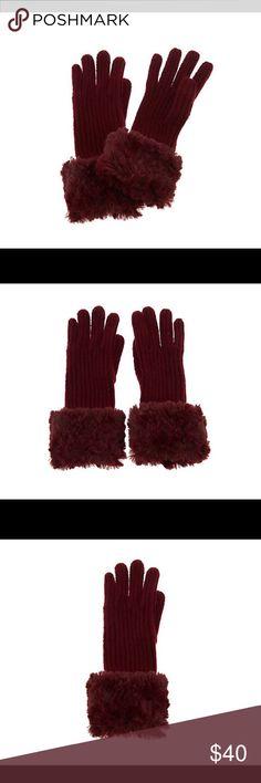 Dennis Basso Rib Knit Gloves NWT. Deep Burgundy color. Roll back faux fur trim. So pretty. Dennis Basso Accessories Gloves & Mittens