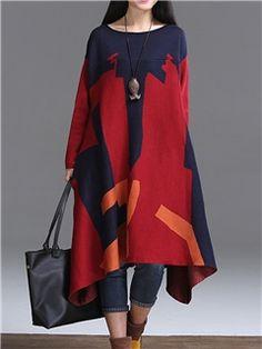 cuello redondo vestido informal de punto asimétrico color block ericdress