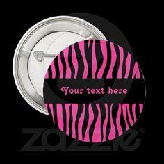 Hot pink zebra stripes add your text from Zazzle.com