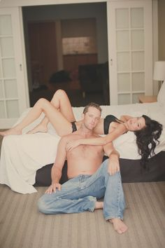 Love! Couples boudoir photography. Fun just married shoot! White lingerie and his pants from the big day?