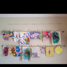 Wire and clothespins for a simple kids art display Love My Kids, Diy For Kids, Crafts For Kids, Arts And Crafts, Kids Artwork, Kids Bedroom, Bedroom Ideas, Playroom Ideas, Little Girl Rooms