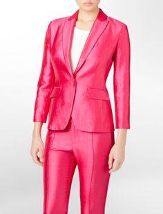 shiny seam detailed suit jacket - suit separates + blazers- Calvin Klein Pink Suit, Legally Blonde, Suit Separates, Basic Tops, Calvin Klein, Jackets For Women, Suit Jacket, Suits, Chic