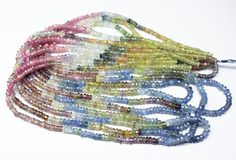 Multi Sapphire Faceted Rondelle Beads Strand, 3mm – Jewels Exports