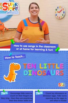 """Wondering how to teach the Super Simple Song """"Ten Little Dinosaurs""""? Join Caitie as she introduces the song, shows you how to lead your classroom in singing the song, and provides some activity ideas to extend on the song. Preschool Songs, Kids Songs, Toddler Preschool, Counting Songs, Counting Activities, How To Teach Kids, English Language Learners, Daycare Crafts, Activity Ideas"""