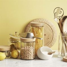 Practical kitchen basics that will last a lifetime. Glass storage jars combining simple design and functional storage from the Rosendahl Grand Cru range. Glass Storage Jars, Storage Canisters, Glass Canisters, Jar Storage, Glass Jars, Decorative Storage, Small Storage, Grand Cru, Scandinavian Interior Design