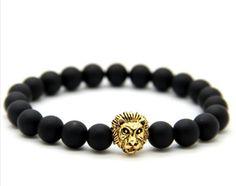 Strength of The Lion Head Black Gemstone Bracelet w/ FREE Shipping