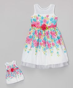Look at this White & Pink Floral Mesh Dress & Doll Dress - Toddler & Girls on #zulily today!