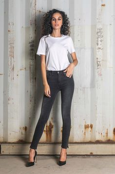 Jeans that fit tight from waist to ankle and result in a skin-tight look. Skinny Fit Jeans, Skin Tight, Leather Pants, Fall Winter, Tights, Ankle, Denim, Fitness, Tops