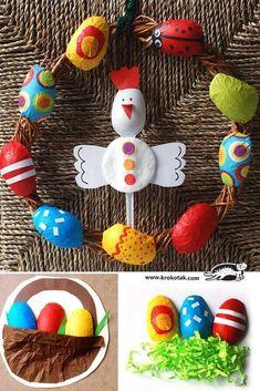 Osterkranz selber machen aus Plastiklöffeln - DIY Deko Ideen zu Ostern