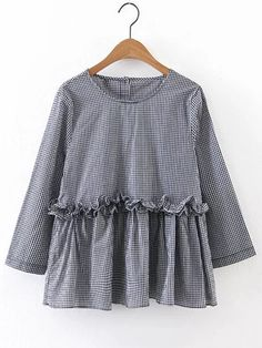 Shop Grid Frill Trim Tunic Blouse online. SheIn offers Grid Frill Trim  Tunic Blouse   969fbf9a6a45