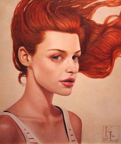 """""""With the Wind"""" - Kris Lewis, oil on linen, 2007 {figurative art female redhead woman face portrait cropped painting} krislewisart.com"""