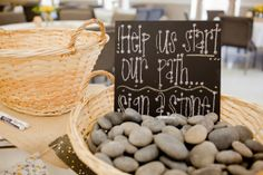 After they sign their names, keep the rocks in a vase or a basket. This can be used for all sorts of things.