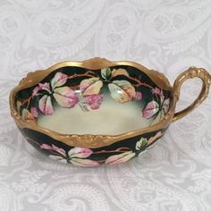 HandPainted Signed Limoge Handled Black Berries Leaf Candy Nut Bon Bon Bowl Dish