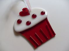 Red and white love fused glass cupcake. $12.00, via Etsy.