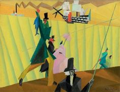 Lyonel Feininger (American, 1871 - 1956).  Angler with Blue Fish II, 1912.  Oil on canvas, signed LR.