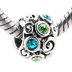 December Birthstone Flowers Beads Fits Pandora Chamilia Biagi Charm Bracelet, $9.99