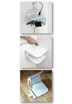 DIY: Corner shelve. This is made of dibond, but you can use other materials.(including recyclable materials).