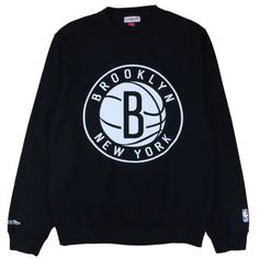 Brooklyn Nets The Official Logo Crewneck - Black By Mitchell And Ness