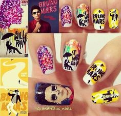 My best friend doesn't paint her nails ! Bruno Mars Quotes, Fabulous Nails, Amazing Nails, Pretty Nail Art, Nails Inspiration, Fun Nails, Acrylic Nails, Marie, Nail Designs