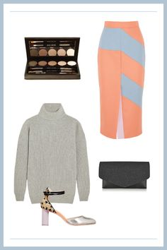 How To Wear Skirts When It's Cold — Without Freezing #refinery29  http://www.refinery29.com/how-to-wear-winter-skirts#slide3  The Colorblocked Midi-Skirt The colored paneling on this Roksanda skirt may seem like a challenge, but when in doubt, team it up with neutrals. This soft-gray turtleneck slips into the look seamlessly and allows you to take risks in other areas, like with some fun patterned shoes.