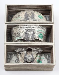 Series of lasercut money by Scott Campbell