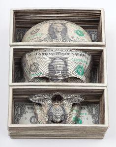 Series of lasercut money by Scott Campbell