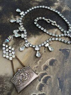 Rhinestone assemblage necklace, Souvenir Purse Locket, Our Lady of Lourdes, Photos by OldNouveau on Etsy