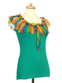 Upcycled Teal Tank Top With Rainbow Crochet Ruffle Collar