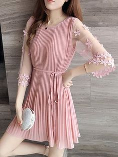 Paneled 3/4 Sleeve Pleated Appliqued Elegant Plus Size Dress