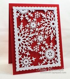 "hand made snowflake card ... KC Impression Obsession Snowflake BAckground ... deep red card ... white ""cover plate"" die cut snowflakes in a scalloped frame ... gorgeous effect ..."
