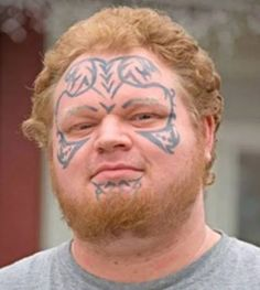 Some people get really nice creative tattoos done by real professions. These are some examples of the most epic tattoo fails . Funny Tattoos Fails, Tattoo Fails, Facial Tattoos, Bad Tattoos, Worlds Worst Tattoos, Stupid Face, Epic Tattoo, Face Pictures, Body Modifications