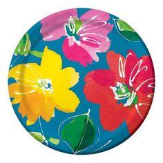 Colorful luau party plates