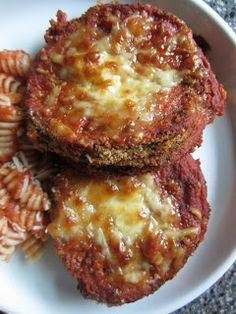 Lighten up Eggplant Parmesan - baked version, made tonight and is was so good!