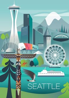 SEATTLE POSTER #TravelDestinationsUsaAffordable