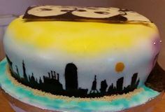 Birthday cake with city skylines (Barcelona)