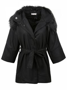 Appealing Pure Color Bowknot Belt Fur Collar Women's  Woolen Coat on buytrends.com